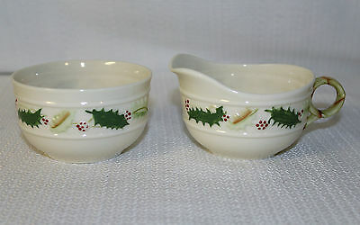 "Beautiful Belleek ""Holly"" Sugar Bowl & Creamer With Gold Stamp"