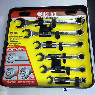 6 PC Great Neck Metric Ratchet faster than standard Wrench. Combo Set, 8M to18M