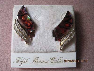 Fifth Avenue Collection Genuine PAUA Shell Clip On Earrings Mint Card Orig 39.99