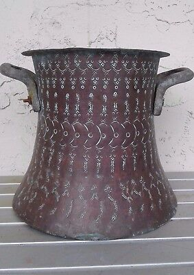Large Antique Persian Islamic Copper Vessel Tin Lined W /etched Design & Handles