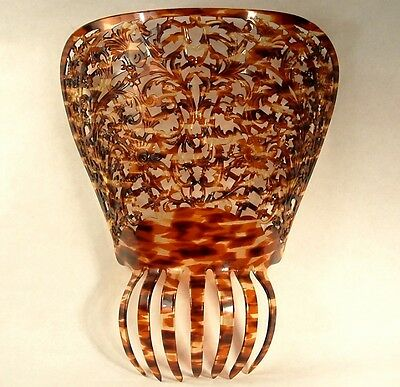 """ANTIQUE big 11"""" hand carved CELLULOID FAUX TORTOISE SHELL HAIR COMB MANTILLA"""