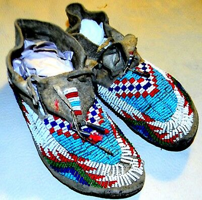 "Vintage Antique 1880s Sioux Indian Made Tanned Buckskin Leather 7.5"" Moccasins"