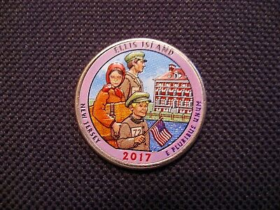 2017 Colorized Ellis Island New Jersey National Park Quarter P Mint