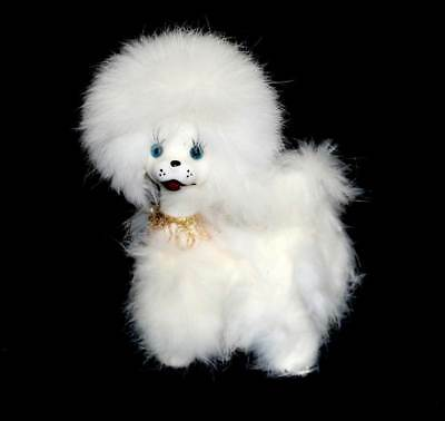 Vintage 1950s kitsch white poodle figurine with feather fur