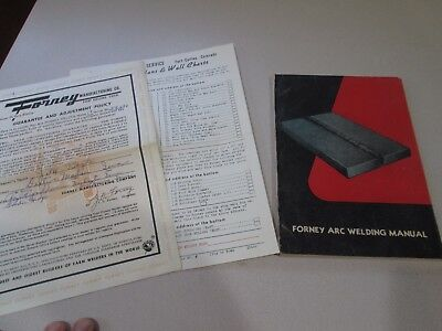 Vintage 50s farm FORNEY ARC WELDING MANUAL 1952 & documents
