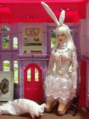 Ooak White Rabbit Outfit Custom Made For Sybarite Superdoll Superfrock Ficon