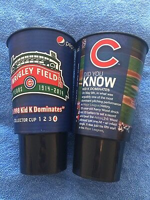 2x Chicago Cubs (MLB) 100 Year Wrigley Field Limited Edition Plastic Stadium Cup