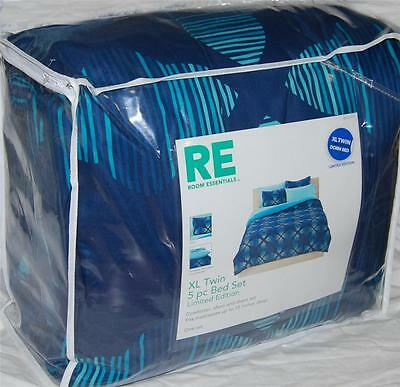 Room Essentials GEOMETRIC BLUE Turquoise/ Blue TWIN XL BED SET NWT DORM BED