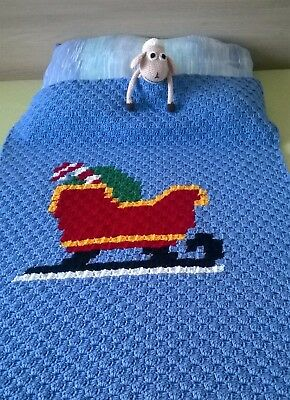 Hand-crochet wool Christmas baby blanket / Favourite children quilt