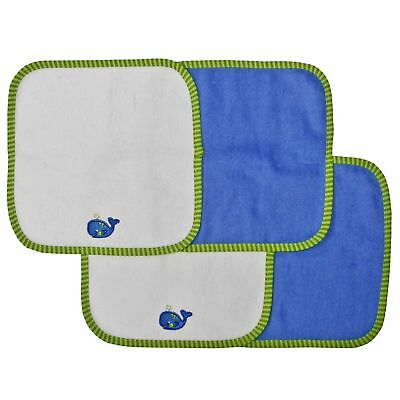 Neat Solutions Solid Knit Terry Washcloth Set White Blue 4-Count Whale NEW FS!