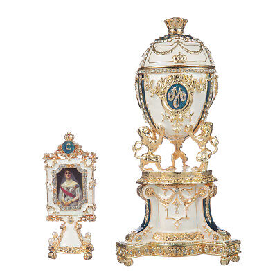 Russian Faberge Egg Trinket Jewel Box with Lions, crown & photoframe 7.9'' blue