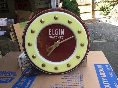 "Vintage 16"" ELGIN WATCHES Light Up Advertising Clock"