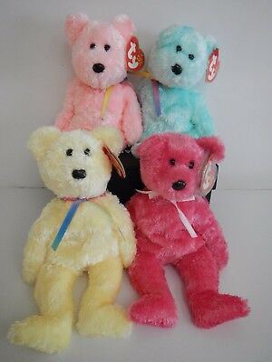 TY Beanie Babies SHERBERT Pink Green & Yellow 2003 Bears Retired