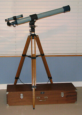 Vintage Sears Equatorial Refractor Telescope #4-6333-A, with Wood Carrying Case