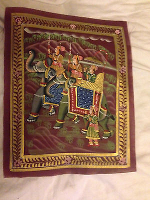 Indian Fabric Painting Of Moghuls Riding Elephant's