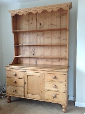 Beautiful Antique Vintage Victorian Pine Dresser C1840 With Later Plate Rack
