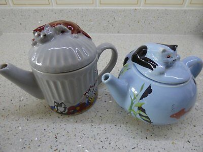Two Wade Whimsical Teapots - Feline Collection - Judith Wootton