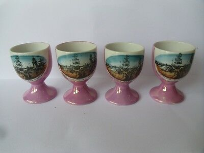 souvenier egg cups, set of four, Littlehampton pier and harbour scene