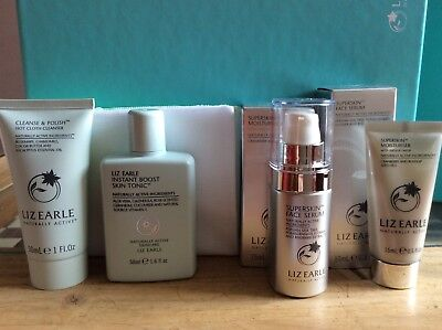 4 liz earle  travel skincare Products including 2  superskin items