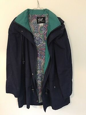 Vintage Designer Virgo Model Parka Coat Jacket 1990s Navy Blue Size 12 Paisley
