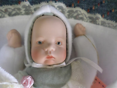 "Adorable Kingstate 7"" porcelain bisque baby infant doll with original tag - New"