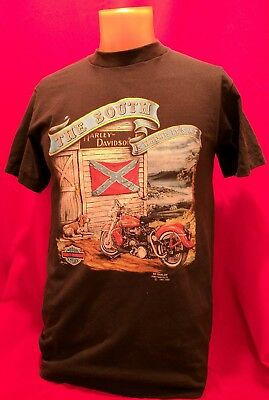 Vintage RARE 1991 Harley Davidson 3D EMBLEM The South Is Where Its At T Shirt
