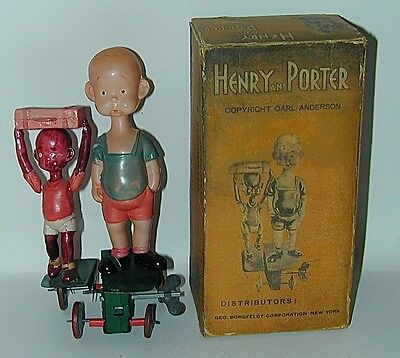 Henry & Porter Celluloid Wind-up Toy Orig. Box Japan 1934 Carl Anderson Comic