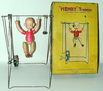 Henry Trapeze Celluloid Wind-up Toy Large Size in Original Box Japan Circa 1934