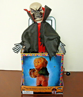Battery Operated Toy Scary Vampire Jack In The Box Halloween Talking Sound Light