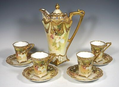 Spectacular Nippon Old Noritake Jeweled Orchid Chocolate Set Stunning Layaway