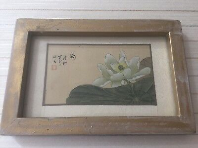 Vintage Chinese Water lily Flower Original Paintings on Silk, Signed, Framed