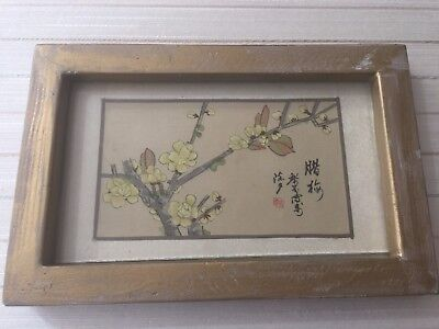 Vintage Chinese Yellow Blossom Flower Original Paintings on Silk, Signed, Framed
