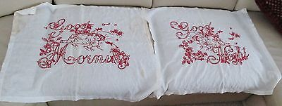 Linen Pillow Lay Over Shams Babes & Florals in Turkey Red Good Morning / Night