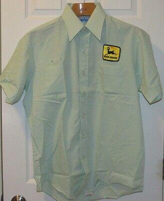 Vtg NOS John Deere Patch Mechanic Dealer Uniform Shirt Rockabilly Union USA