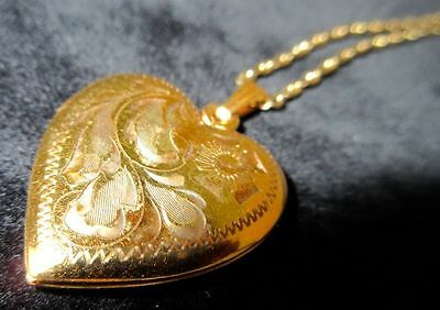 Heart Shaped Locket Victorian Style Gold Filled Pendant With Chain