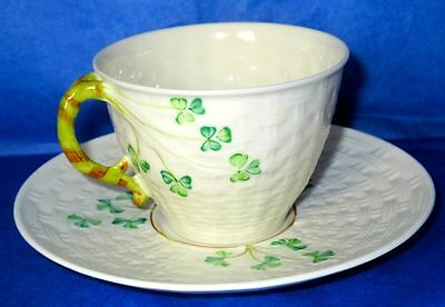 Belleek Ireland Porcelain Shamrock Leaf Basket Weave Cup & Saucer