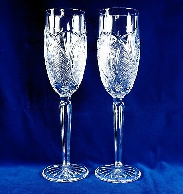 "Waterford Crystal Seahorse Pattern Fluted Champagne Glasses 9 1/2"" tall Lot of 2"