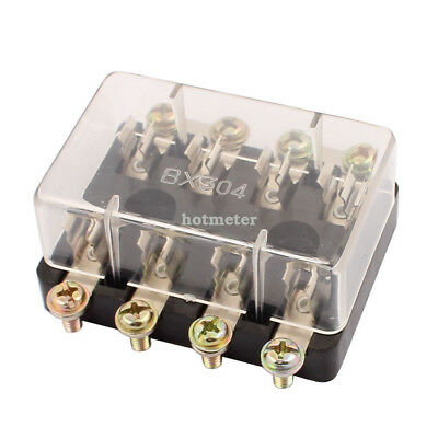 BX304 DC32V 6x 30mm Glass Tube 4 Ways Car Terminals Circuit Fuse Box Black Clear