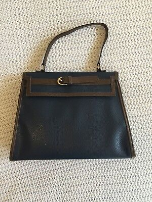 Janie and Jack Equestrian Navy Blue Brown Trim Purse Bag Faux leather VHTF! NWT