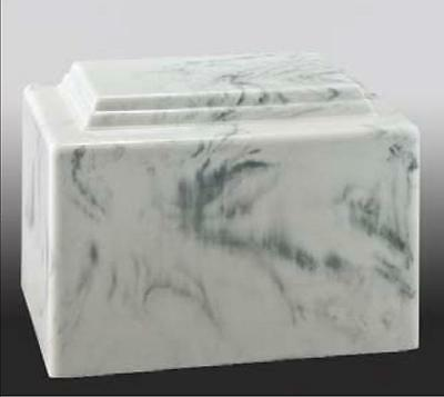 White/Grey Cultured Marble Cremation Urn - perfect for ground burial
