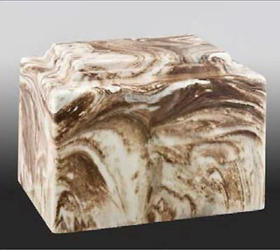 Brown & White Cultured Marble Cremation Urn - perfect for ground burial