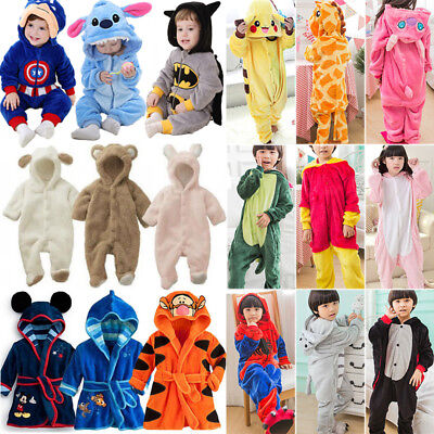 Kids Pajamas Kigurumi Unisex Cosplay Costume Animal Bath Robe Sleepwear Rompers