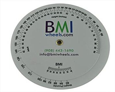 BMI Wheel, Double Sided Adult and Pediatric in Pounds and Inches 1 Pack - NEW
