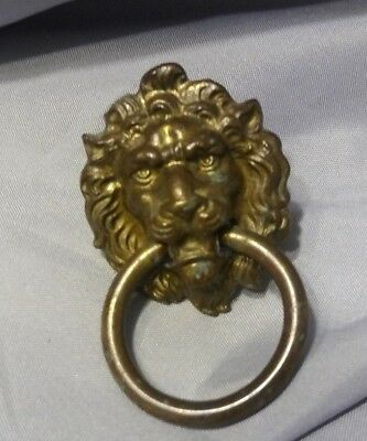 VINTAGE LION HEAD with Ring  CAST  BRASS   Drawer Pull  KB04  H377