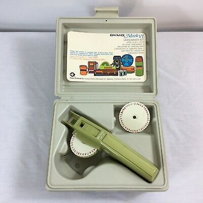 Vintage Dymo Labelmaker Kit with 2 Wheels & Case