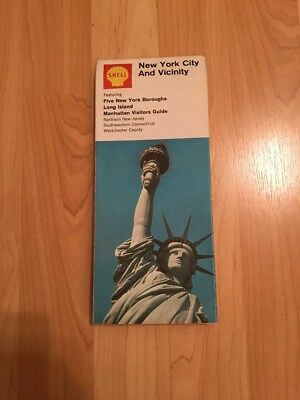 Vintage Shell 1969 Map of New York City and Vicinity
