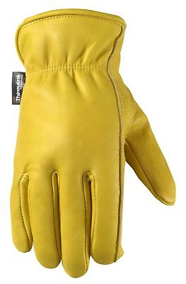 Mens Winter Leather Work Gloves, 100-gram Thinsulate, Cowhide, Lined Leather, La