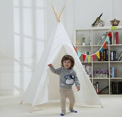 US SHIPPING 100% Cotton White Four Poles With One Window Kids Play Teepee Tent