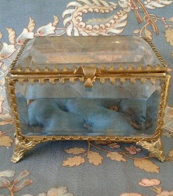 Antique French 1800's Beveled Glass Tufted Silk Brass Mount Jewelry Trinket Box