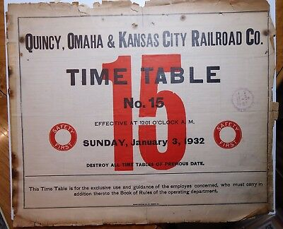 Quincy Omaha & Kansas City 1932  Employee Timetable #15